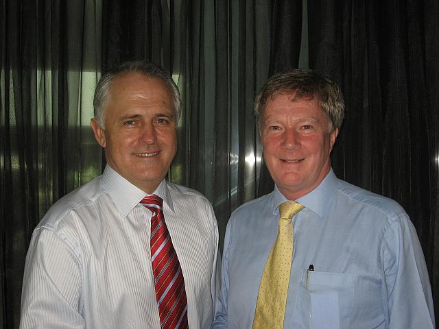 Alan Manly with Malcolm Turnbull Leader of the Opposition 2008