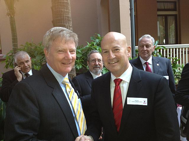 Alan Manly with Leader of the Opposition NSW Parliament John Robertson 2012