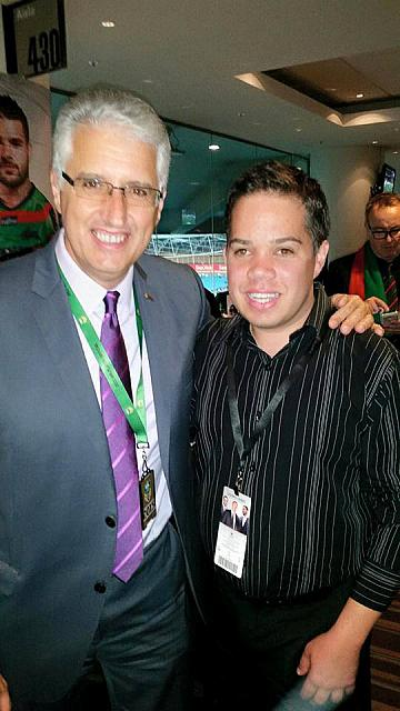 James Manly and Nick Pappas chairman of South Sydney Rabbitohs
