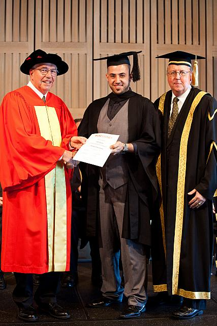 Student name receiving their degree at the November 2011 UIC Graduation, Opera House, Sydney Australia.