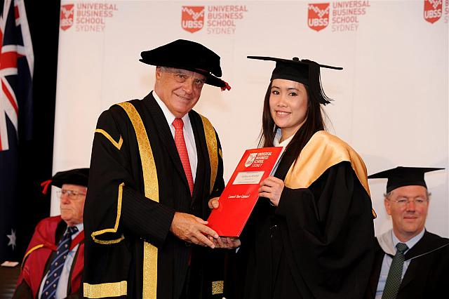 Natthanicha Wandee receiving their degree at the April 2014 UBSS Graduation, Opera House, Sydney Australia.