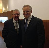 Gerard Newcombe and Immigration Minister Scott Morrison 2014