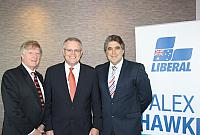 Alan Manly with Treasurer of Australia Scott Morrison and Dr Jim Taggart