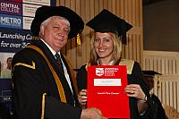 Yulia Kuschch receiving their degree at the November 2012 UBSS Graduation, Opera House, Sydney Australia.